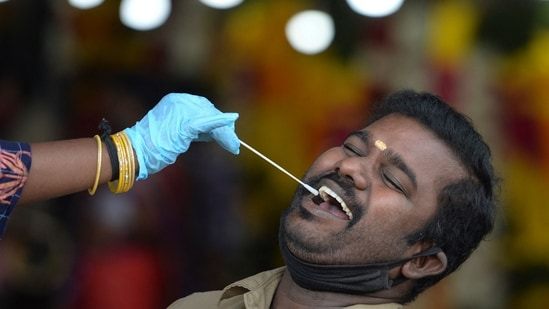 The Tamil Nadu government imposed fresh restrictions in the state from April 26 in view of the rising cases of coronavirus disease (Covid-19).(Arun Sankar / AFP)