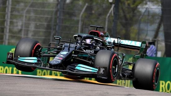 Mercedes' Lewis Hamilton in action during practice.(REUTERS)