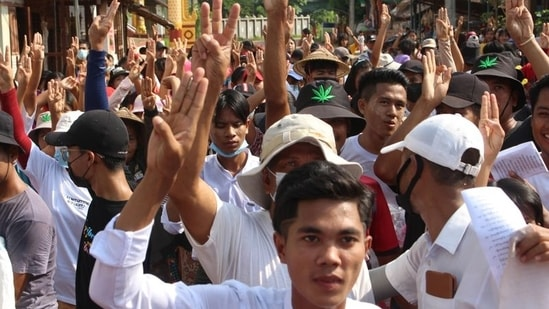 People attend a protest against Myanmar's military coup in Launglon, Myanmar.(Reuters)