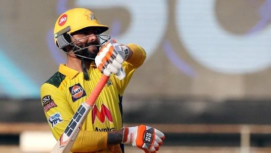 Ravindra Jadeja of Chennai Super Kings celebrates his fifty.(IPL/Twitter)