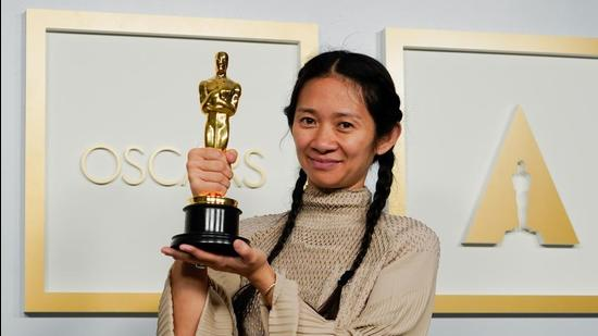 Director Chloe Zhao, winner of the award for best picture for Nomadland, poses at the press room of the Oscars in Los Angeles, California. (REUTERS)