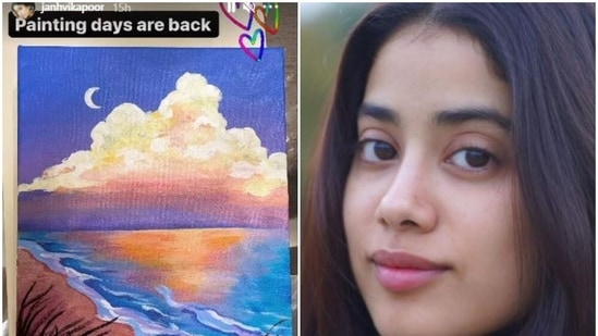 Janhvi Kapoor shared a picture of her painting on Instagram.
