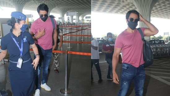 Sonu Sood spotted at Mumbai Airport on Monday. (Varinder Chawla)