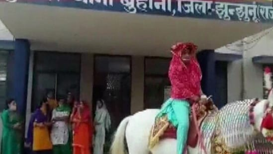 The pre-wedding procession of Sonia took place on Sunday where her colleagues played the role of her family.(ANI)