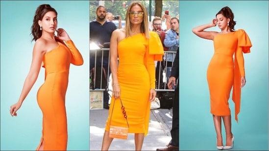 Nora Fatehi mimics Jennifer Lopes in Alex Perry's body-hugging orange midi(Instagram/norafatehi/alexperryofficial)