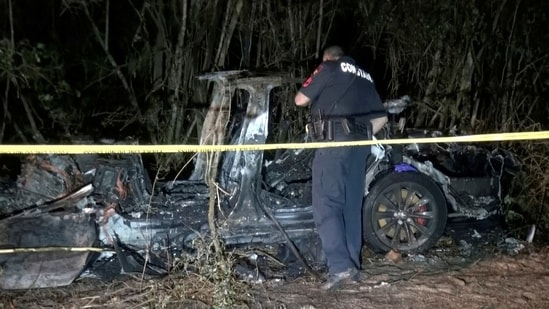 The remains of a Tesla vehicle are seen after it crashed in The Woodlands, Texas.(Reuters)