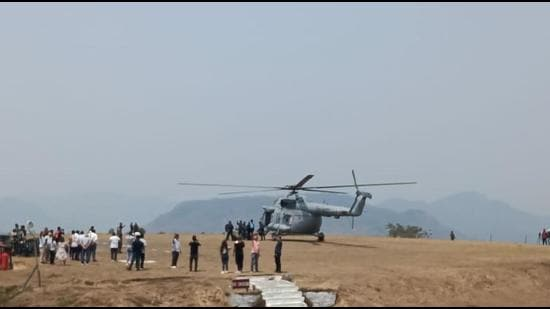 One of the two Mi17 choppers of IAF used to douse forest fire in Lunglei district of Mizoram on Saturday. (Photo: IAF)