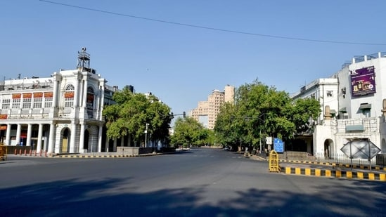 Connaught Place area wears a deserted look during the Covid-induced lockdown, in New Delhi on Sunday, April 25. (PTI)(HT_PRINT)