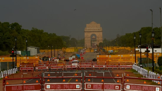 A deserted view of Rajpath due to lockdown to limit the spread of the coronavirus disease in New Delhi. (ANI Photo)