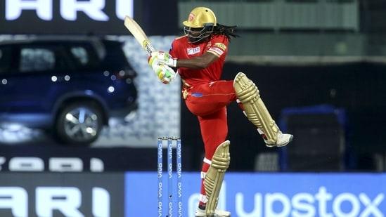 Chris Gayle of Punjab Kings plays a shot in IPL 2021(PTI)