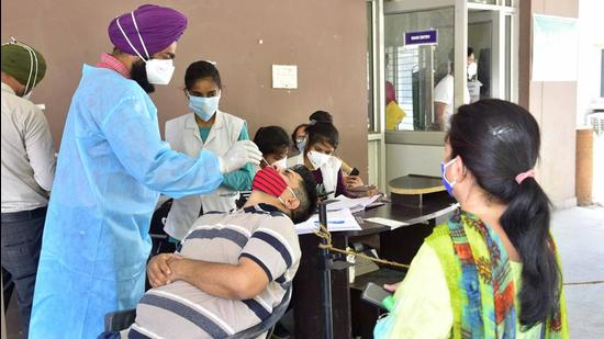 A health worker collecting swab samples for Covid testing at the civil surgeon's office in Ludhiana on Tuesday. (Gurpreet Singh/HT)