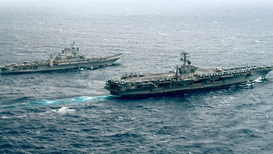 India's sole aircraft carrier INS Vikramaditya in joint patrol with USS Nimitz during 2017 Malabar exercises(File photo)