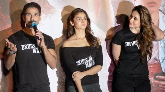 Shahid Kapoor, Kareena Kapoor and Alia Bhatt during the trailer launch of their film Udta Punjab in Mumbai.(PTI)