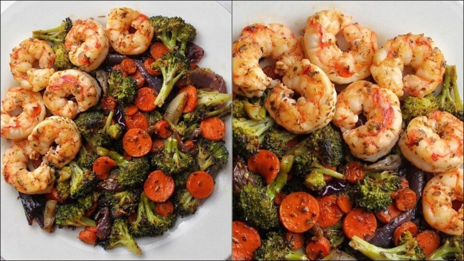 Recipe: Greek veggies with sautéed shrimp in a Greek lemon dressing for dinner