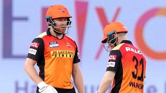 Jonny Bairstow of Sunrisers Hyderabad and David Warner captain of Sunrisers Hyderabad during an IPL 2021 match(ANI Photo/IPL Twitter)