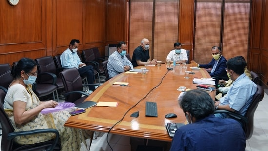 Delhi CM Arvind Kejriwal chairs a meeting with the health officials on the situation of Coronavirus on Wednesday. (ANI Photo)