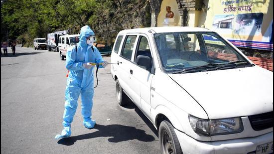 Sanitisation in progress in Shimla on Wednesday. (Deepak Sansta/HT)