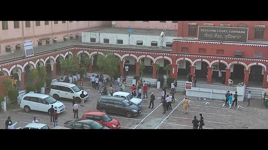 The shooting of web series, Your Honour, in progress at Arya Senior Secondary School in Ludhiana after 6pm on Tuesday despite the Covid-19 lockdown. (HT Photo)