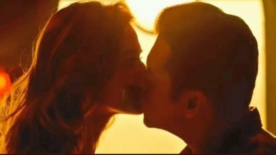 A brightened screenshot of Salman Khan and Disha Patani from the Radhe trailer.