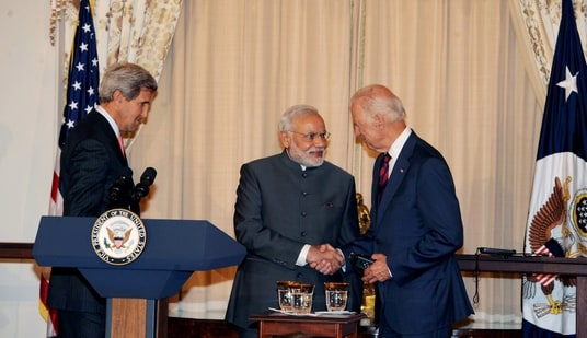PM Modi and US president Joe Biden seen shaking hands in this file picture. (PTI Photo)