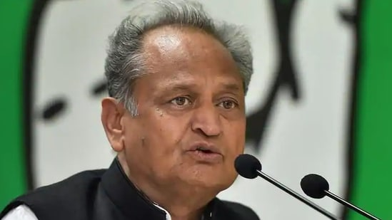 Rajasthan chief minister Ashok Gehlot had been actively taking part in offline meetings with officials to discuss the overall Covid-19 situation in the state.(PTI file)