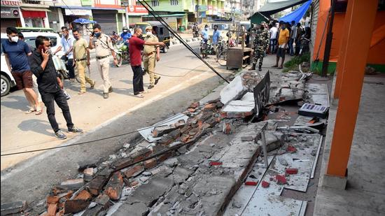 An earthquake-damaged building at Bhetapara in Guwahati, early on Wednesday, April 28. (PTI)