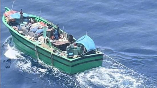 The fishing boat had sailed for deep sea fishing from Tamil Nadu on April 6 with an 11-man crew. (PHOTO: Coast Guard.)