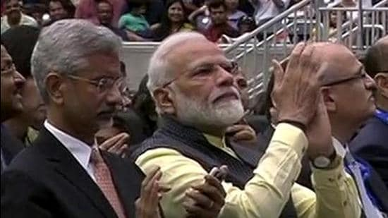 USA, Sep 22 (ANI): Prime Minister Narendra Modi along with External Affairs Minister S Jaishankar and other officials during the Howdy Modi event at NRG Stadium in Houston on Sunday. (ANI Photo)