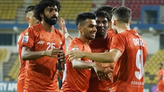 FC Goa players celebrate a goal. (FC Goa/Twitter)