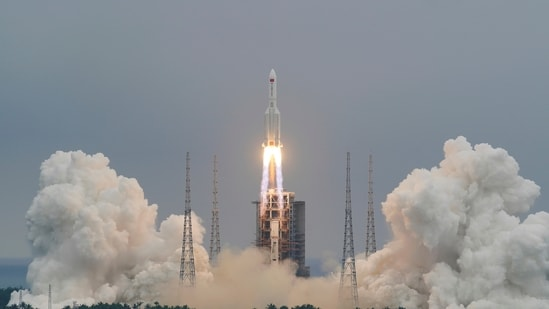 The Long March-5B Y2 rocket, carrying the core module of China's space station Tianhe, takes off from Wenchang Space Launch Center.(via Reuters)
