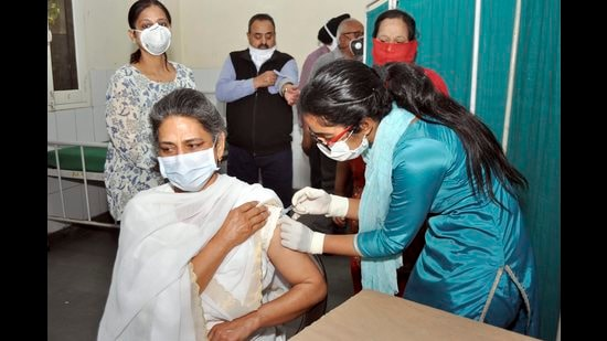 A woman getting the jab in Patiala on Tuesday. (PTI)