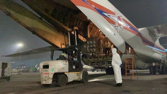 """""""For this purpose, two urgent flights operated by the Russian EMERCOM arrived here today,"""" Russian ambassador to India Nikolay Kudashev said.(Twitter/@NKudashev)"""