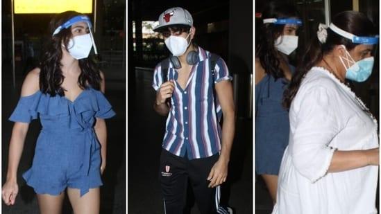Sara Ali Khan was spotted at airport with mom Amrita Singh and brother Ibrahim Ali Khan.(Varinder Chawla)