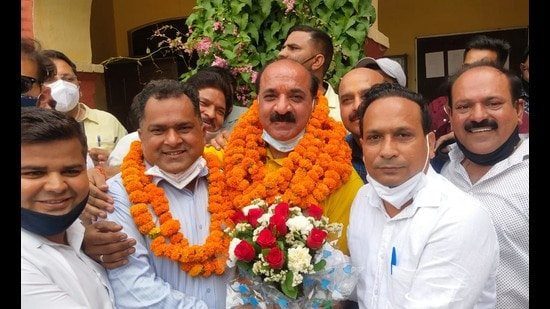 Newly elected mayor Panna Lal Bhatia and others in Pathankot on Thursday.