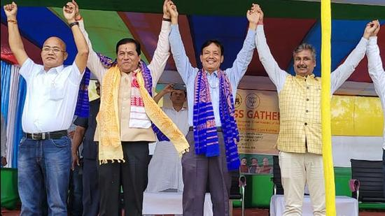 Assam Chief Minister Sarbananda Sonowal, who is projected by exit polls to win a second term, during an election campaign rally (ANI)