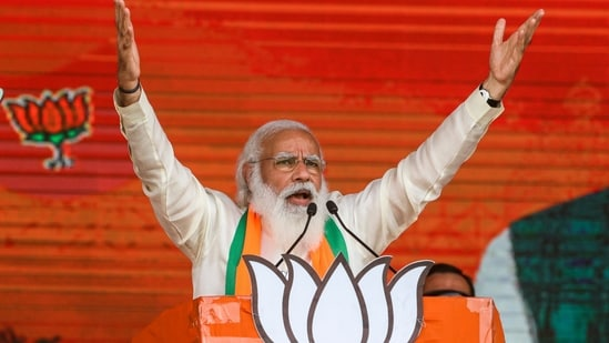 Prime Minister Narendra Modi during a public rally ahead of West Bengal state elections.(AP File Photo)