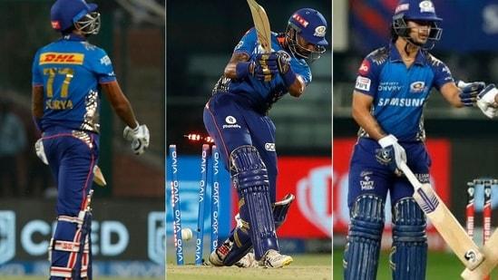 From Left: Suryakumar Yadav, Krunal Pandya and Ishan Kishan. (IPL/Twitter)