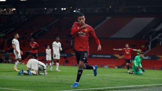 Manchester United's Mason Greenwood celebrates scoring their sixth goal.(REUTERS)
