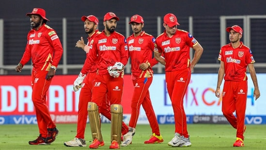 KL Rahul (c) entering on the field with players during match 21 of the Indian League 2021 between the Punjab Kings and the Kolkata Knight Riders held at the Narendra Modi Stadium.(PTI)