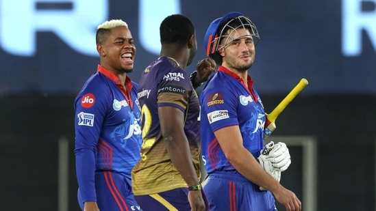 Delhi Capitals after their win during match 25 of the Indian Premier League 2021.(PTI)