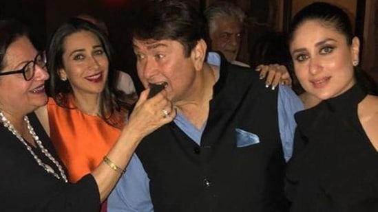 Randhir Kapoor, with Babita, Kareena Kapoor Khan, and Karisma Kapoor.(Instagram)