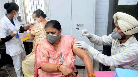 Women get their second dose of Covid-19 vaccines at CHC Model Town, in Patiala, Punjab. (File photo)