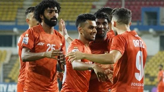 FC Goa players celebrate a goal.(FC Goa/Twitter)