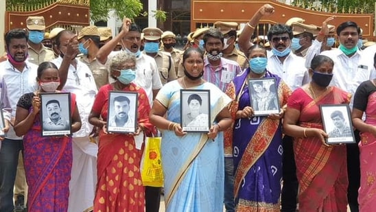 Among the protesters on Thursday was M Jayakumar, who lost his younger brother M Selvakumar on the 100th day of the May 2018 demonstration when police opened fire on the agitators.(Activist Prabhu Thoothukudi)