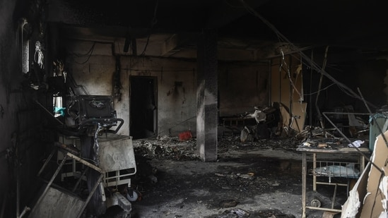 A fire broke out at the Patel Welfare Hospital in Bharuch, Gujarat, on Saturday.(AFP)