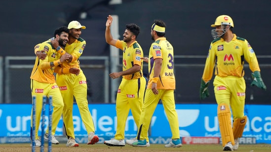 Ravindra Jadeja celebrates the wicket of AB de Villiers during match 19 of the Indian Premier League 2021 between the Chennai Super Kings and the Royal Challengers Bangalore.(PTI)