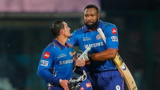 Quinton de Kock and Kieron Pollard during match 24 of the Indian Premier League between the Mumbai Indians and the Rajasthan Royals.(PTI)