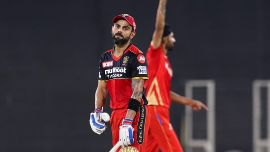 Virat Kohli during match 26 of the Indian Premier League 2021 between the Punjab Kings and the Royal Challengers Bangalore.(PTI)