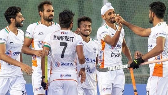 Indian players celebrate. (Hockey India)