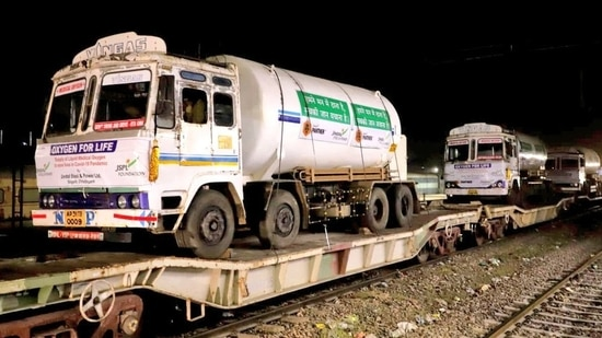 Oxygen tankers being carried by Oxygen Express. (Photo: Railways)